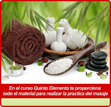 quinto elemento te proporciona todo el material para realizar la practica del masaje